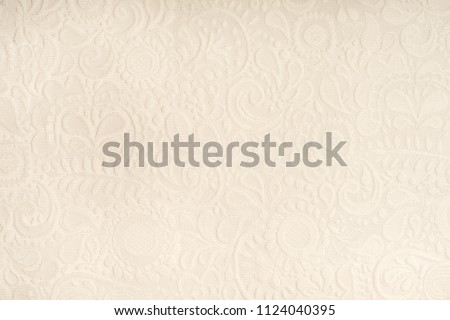 Full frame background of detailed lace pattern on white background - Shutterstock ID 1124040395