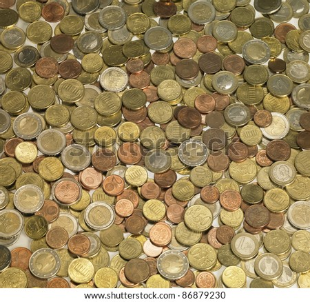 full frame background with mixed euro coins