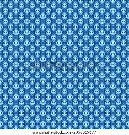 Full Frame Illustrated Seamless Blue Abstract Pattern Background