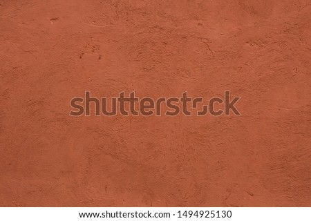 Full frame image of textured stucco in bright terracotta color. High resolution abstract texture for 3d model, background, pattern, poster or collage Photo stock ©