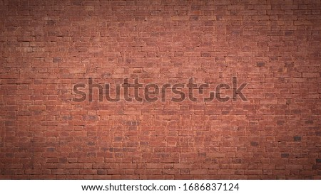Full frame image of the old painted red brick wall. High resolution texture (16:9 format) with dark vignetted corners for background, poster, collage in grubge, urban, loft style Stockfoto ©