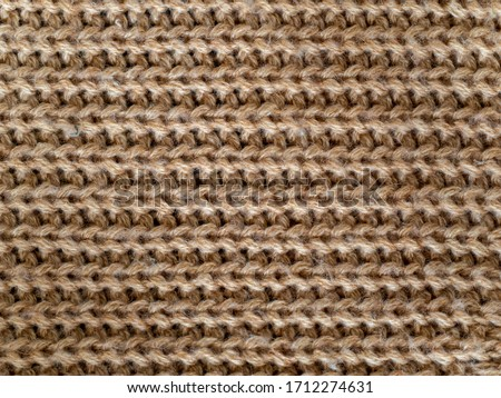Full frame light brown color wool knitting pattern Foto d'archivio ©