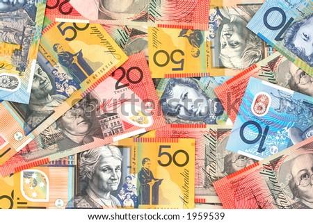 Full-frame of Australian fifty, twenty and ten dollar notes