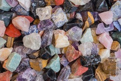 Full frame of colorful gemstones texture. Natural mineral stones close up