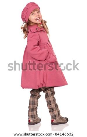Full-frame pretty little girl. Isolated on white background.