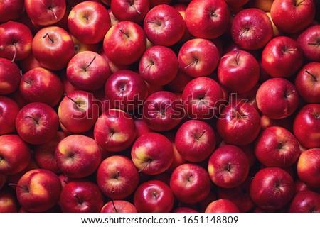 Full frame shot of red apples. Fresh red apples from the market. Foto stock ©