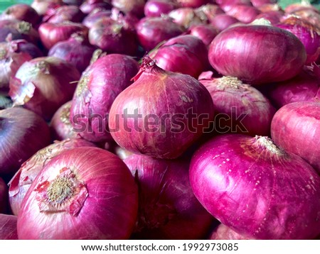 Full frame shot Purple Onions. Fresh Whole Onion in a group with top and bottom. Foto stock ©