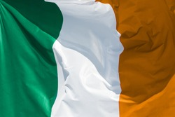 full framed irish flag floating in the wind correct colors