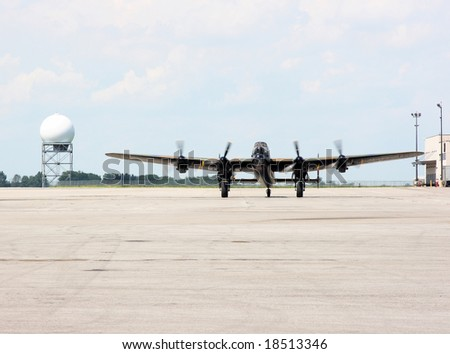 Full front view of one of the flying veteran Avro Lancaster bomber. During the WW II were manufactured in Canada and UK over 7300 Lancaster Bombers. From 7300 only two still flying.