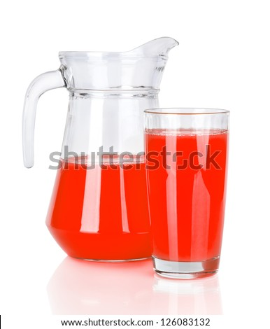 Full glass and Jug of  grapefruit juice isolated on white background