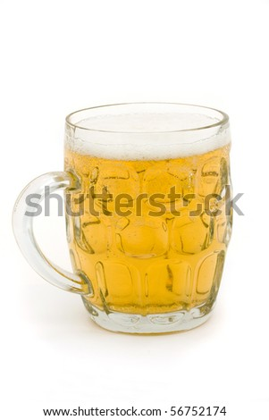 full glass beer mug on a white background
