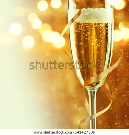 Full glass of champagne close up. #541427506
