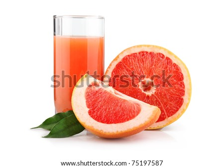 Full glass of grapefruit juice and fruits isolated on white background