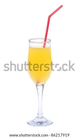 Full glass of orange juice isolated