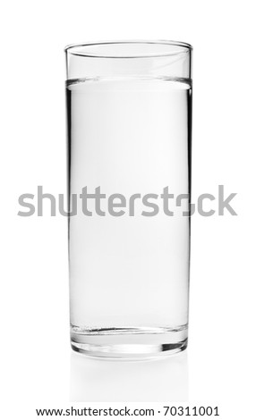 Full glass of water isolated on white background with clipping path