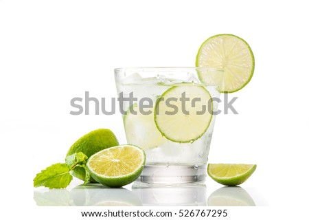Full glass of water with lemon and mint isolated on white background #526767295