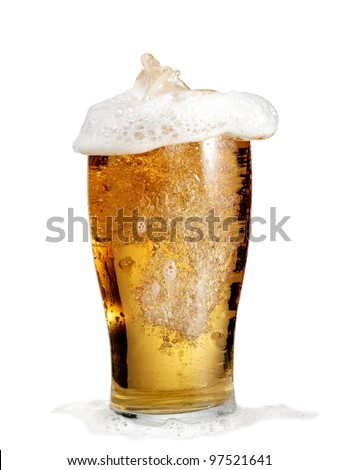 Full glass with beer - stock photo