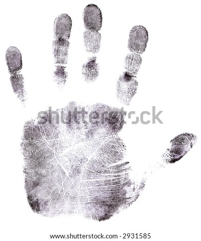 Full Hand black fingerprint - High Resolution monochrome image