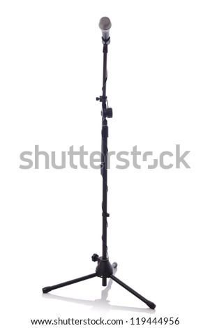 full height microphone stand with microphone isolated on white background