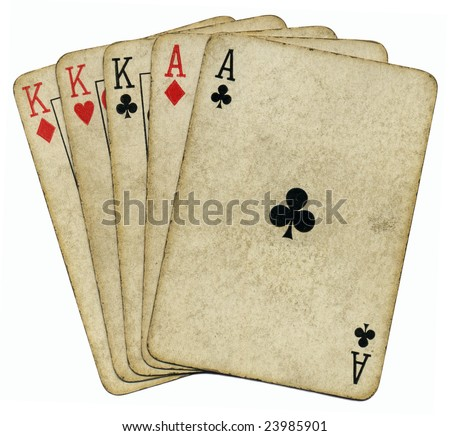 Full house aces and Kings vintage poker cards isolated over white.