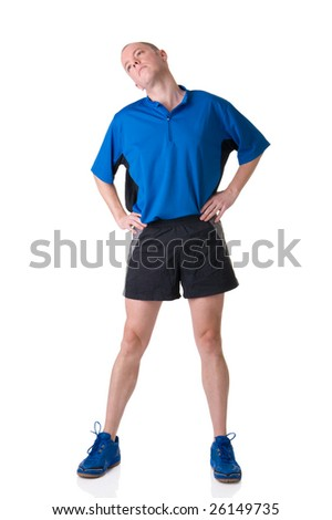Full isolated picture of a caucasian man stretching the muscles