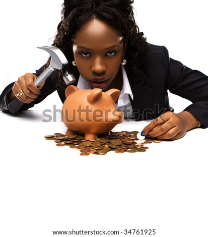 Full isolated portrait of a beautiful african american woman with a piggy bank holding a hammer