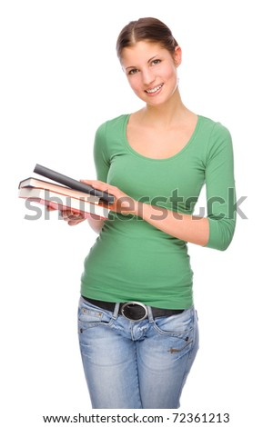Full isolated portrait of a beautiful and happy young student
