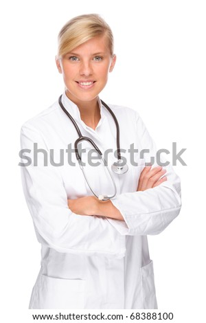 Full isolated portrait of a beautiful caucasian doctor