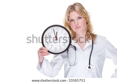 Full isolated portrait of a beautiful caucasian doctor with a clock