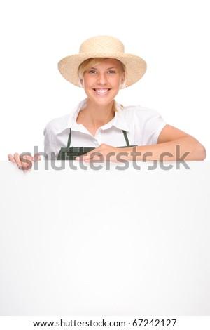 Full isolated portrait of a beautiful caucasian gardener