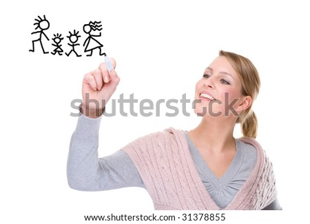 Full isolated portrait of a beautiful caucasian woman drawing a family picture