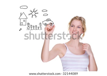 Full isolated portrait of a beautiful caucasian woman drawing a family picture #32144089
