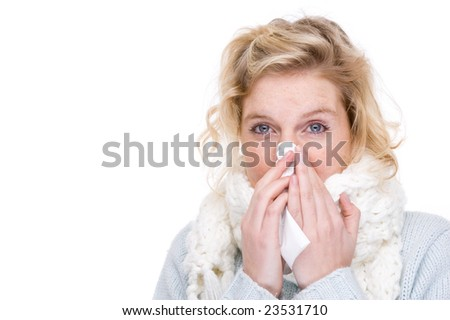 Full isolated portrait of a beautiful  caucasian woman with a handkerchief