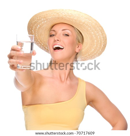 Full isolated portrait of a beautiful woman with glass of water