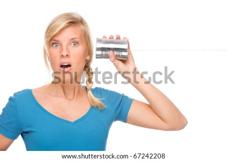 Full isolated portrait of a beautiful woman with tin phone - stock photo