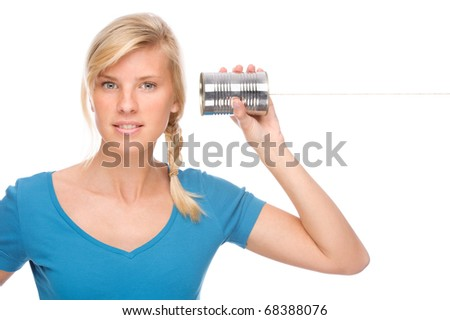 Full isolated portrait of a beautiful woman with tin phone