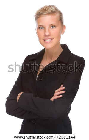 Full isolated portrait of a caucasian businesswoman