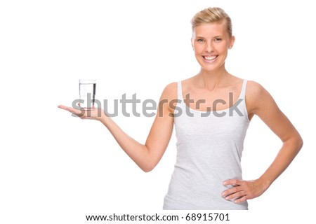 Full isolated portrait of a caucasian woman with glass of water