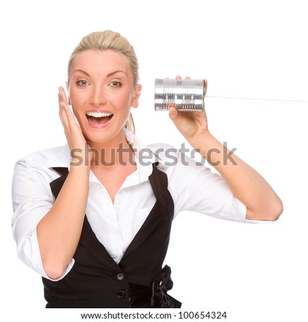 Full isolated portrait of a caucasian woman with tin phone