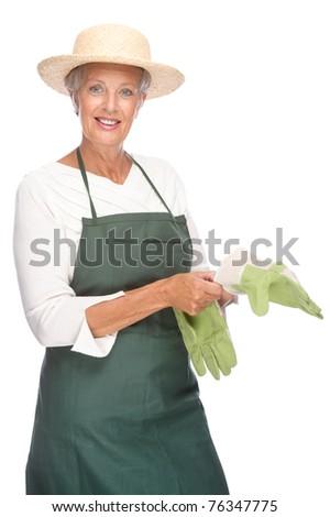 Full isolated portrait of a senior gardener