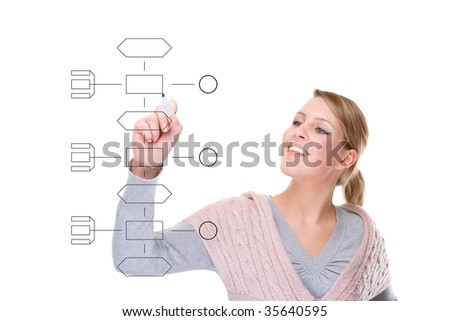 Full isolated studio picture from a  businesswoman  drawing some graphics
