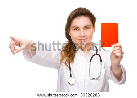 Full isolated studio picture from a doctor with red card