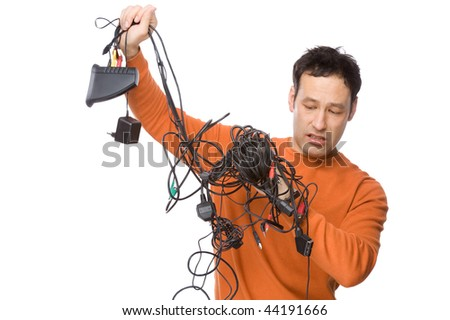 Full isolated studio picture from a electrician with cables