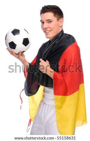Full isolated studio picture from a german soccer fan