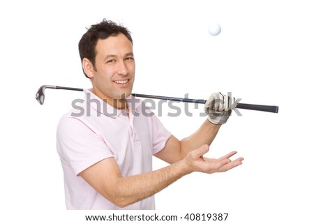 Full isolated studio picture from a golf player