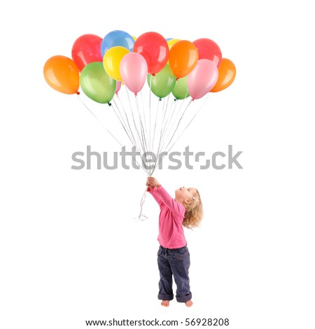 Full isolated studio picture from a little girl with balloons
