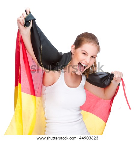 Full isolated studio picture from a young and beautiful woman with Germany flag (sport fan)