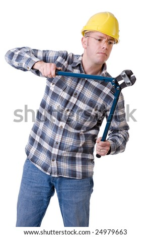 Full isolated studio picture from a young construction worker with a bolt cutter