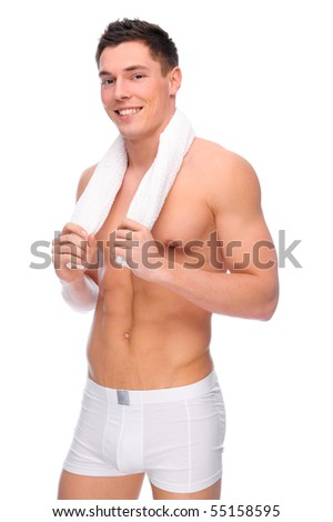 Full isolated studio picture from a young naked man with underwear