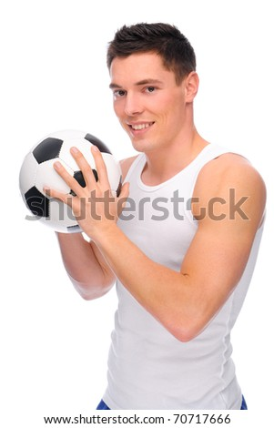 Full isolated studio picture from a young soccer player